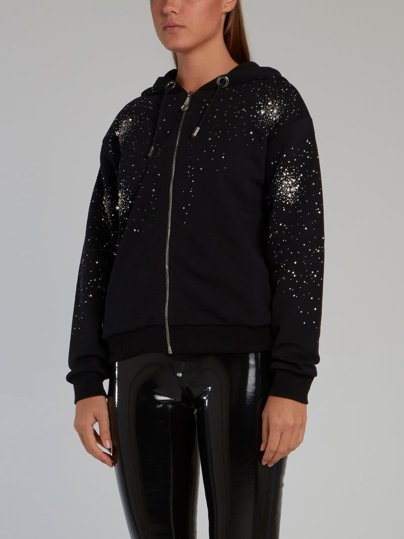 Crystal Plein Black Studded Sweatshirt