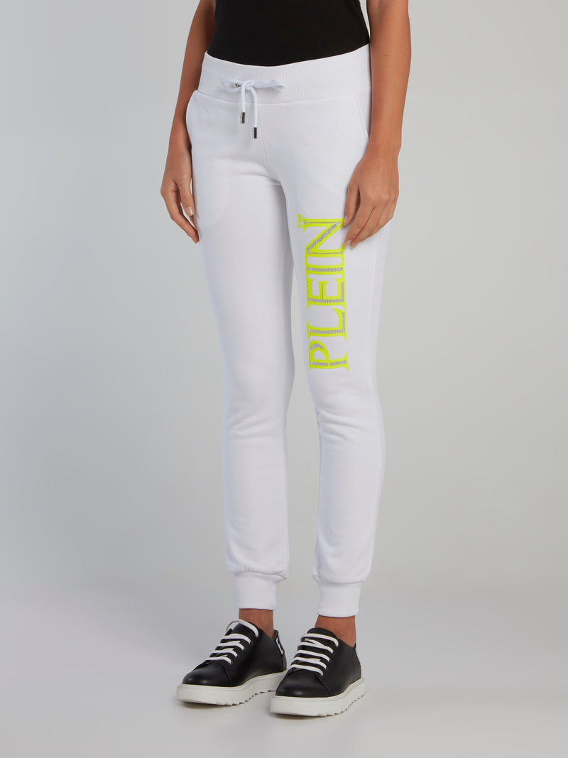 White Studded Neon Logo Jogging Trousers