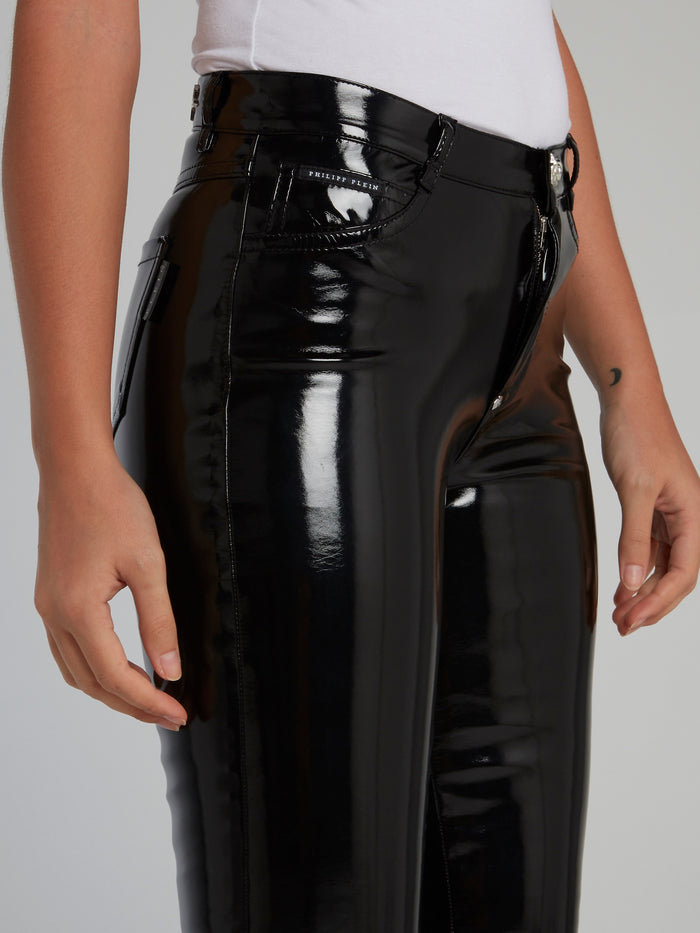 Black Patent Leather High Waist Pants