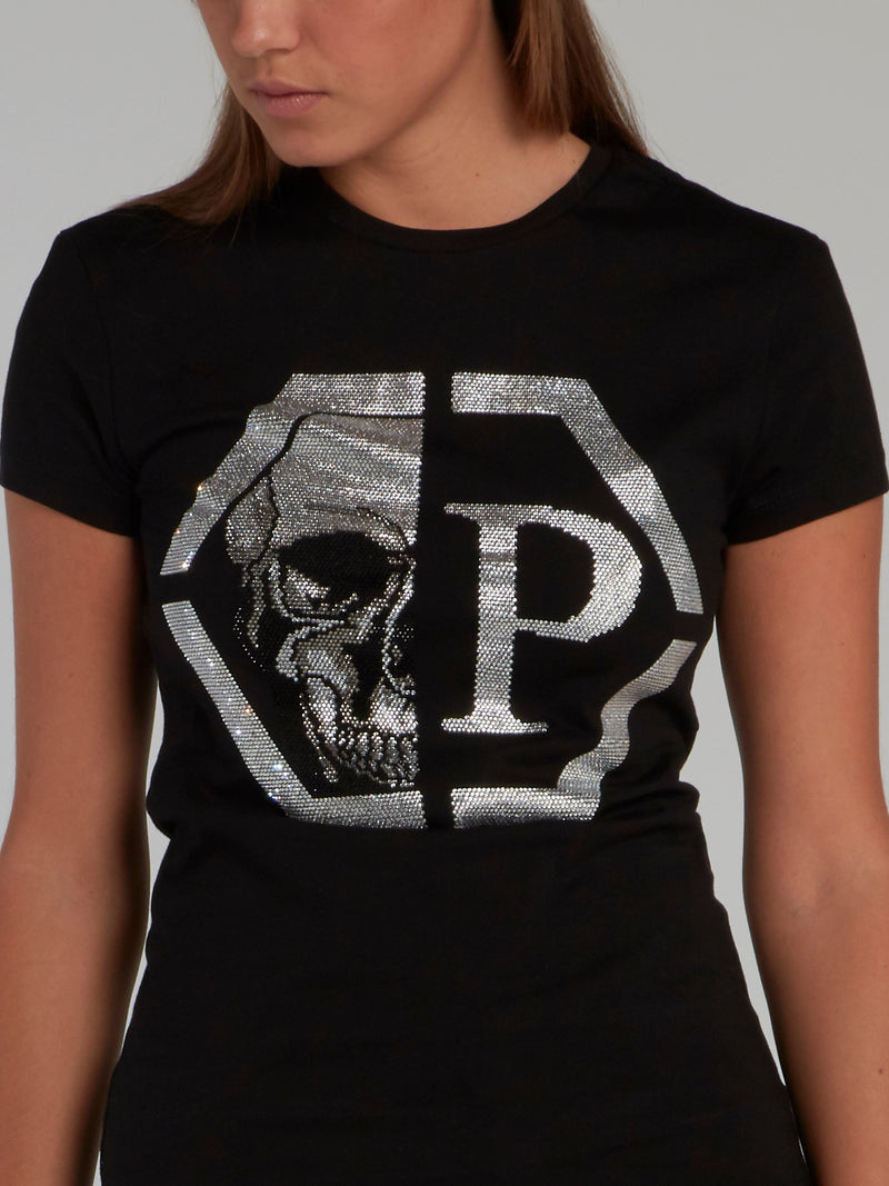 Black Crystal Skull Logo Fitted T-Shirt