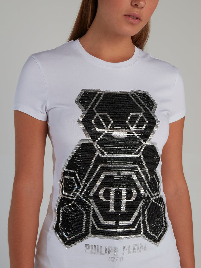 Teddy Bear White Strass Studded T-Shirt