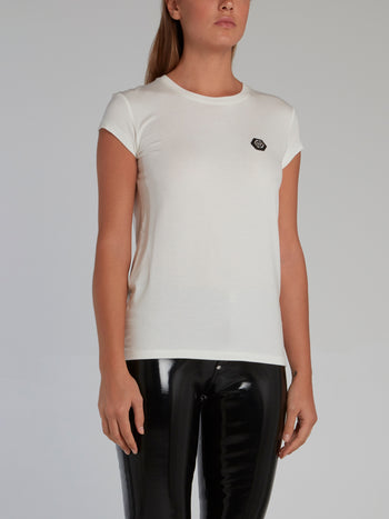 White Appliquéd Cap Sleeve T-Shirt