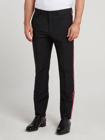 Black Velvet Side Stripe Pants