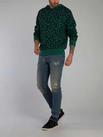 Green Jungle Leopard Hooded Sweater