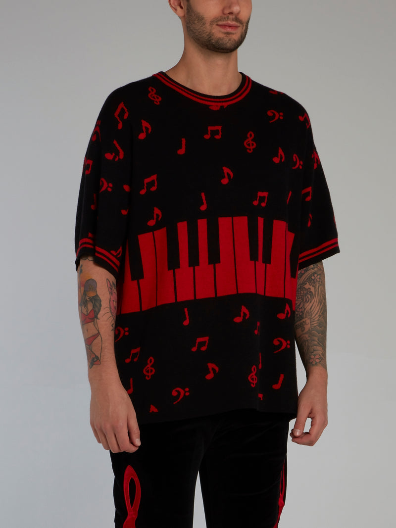 Black Half Sleeve Piano Key Sweater