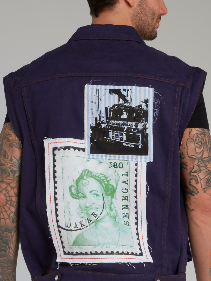 Navy Postage Stamp Denim Jacket