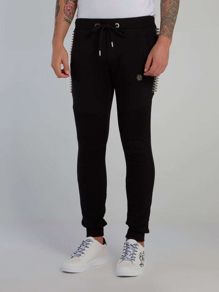 Black Spike Studded Jogging Trousers