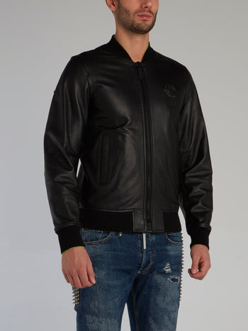 Black Sheepskin Leather Bomber Jacket