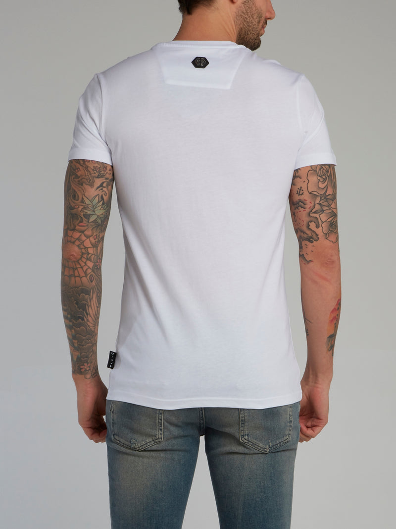 Skull Strass White Crewneck T-Shirt