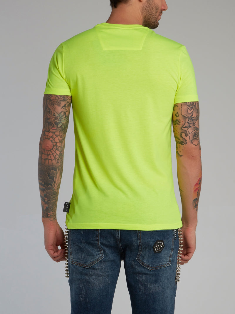 Neon Yellow Logo Appliquéd Cotton T-Shirt
