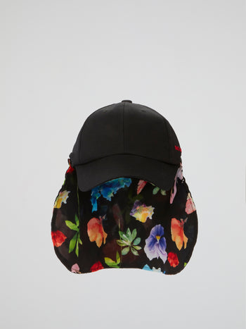 Black Flower Ball Cap