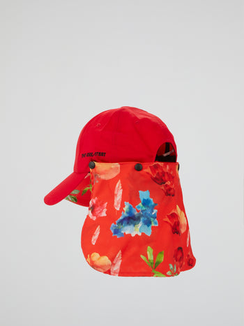 Red Flower Ball Cap