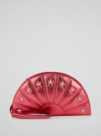 Red Star Embellished Metallic Pochette