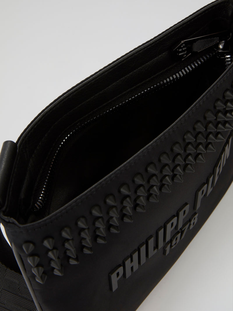 PP1978 Black Spike Studded Crossbody Bag