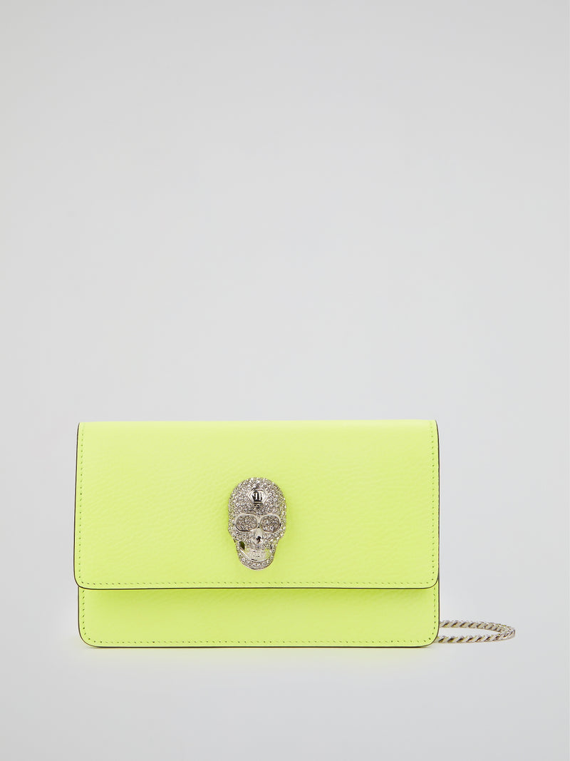Neon Yellow Skull Crystal Shoulder Bag