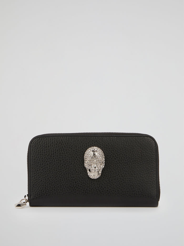 Black Crystal Skull Continental Wallet