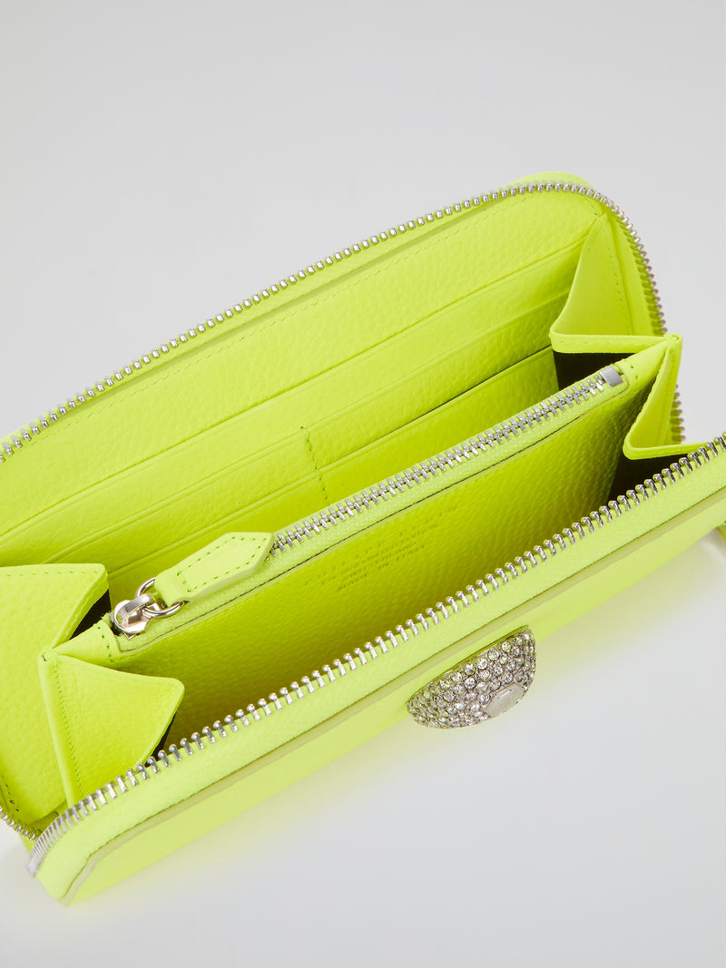 Neon Yellow Crystal Skull Continental Wallet