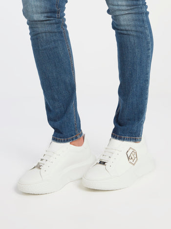 White Monogram Embellished Platform Sneakers