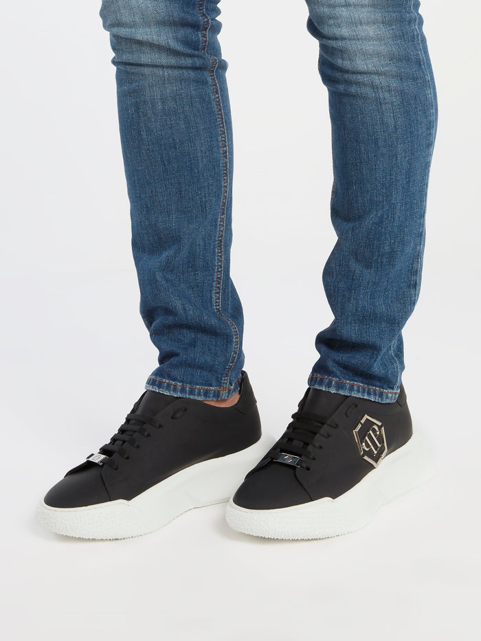 Black Monogram Embellished Platform Sneakers