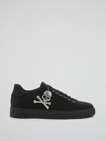 Black Crystal Skull Sneakers