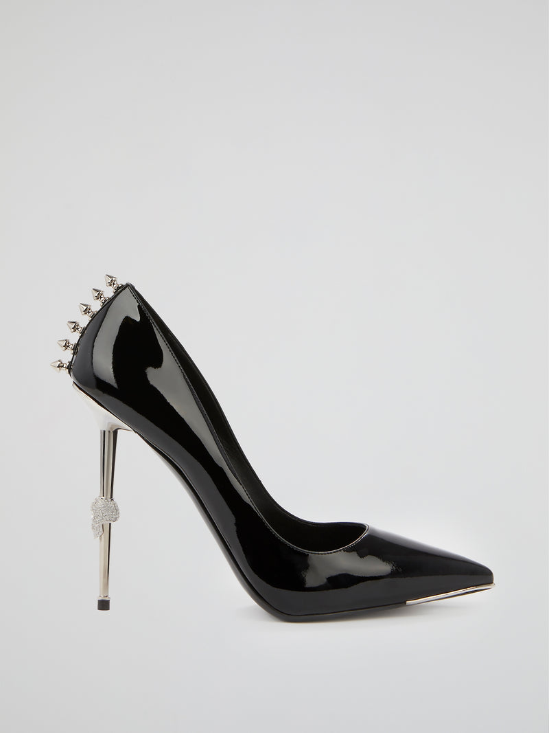 Black Spike Studded Pumps