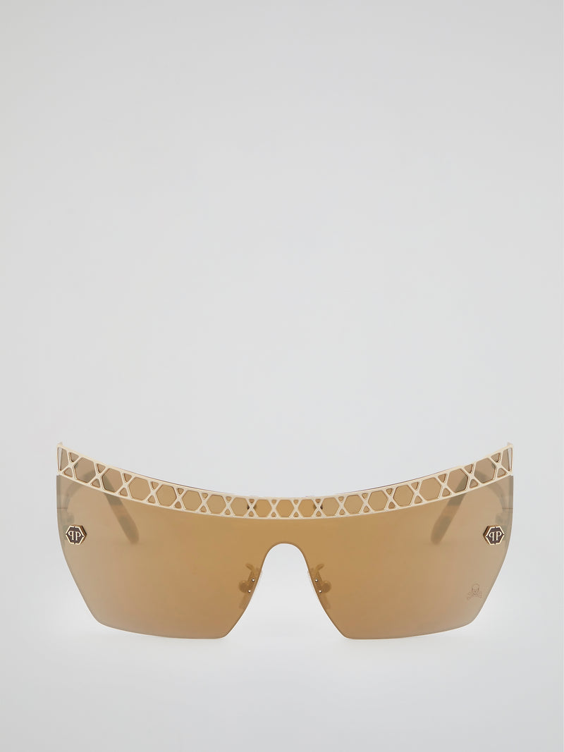 Gold Rimless Square Sunglasses