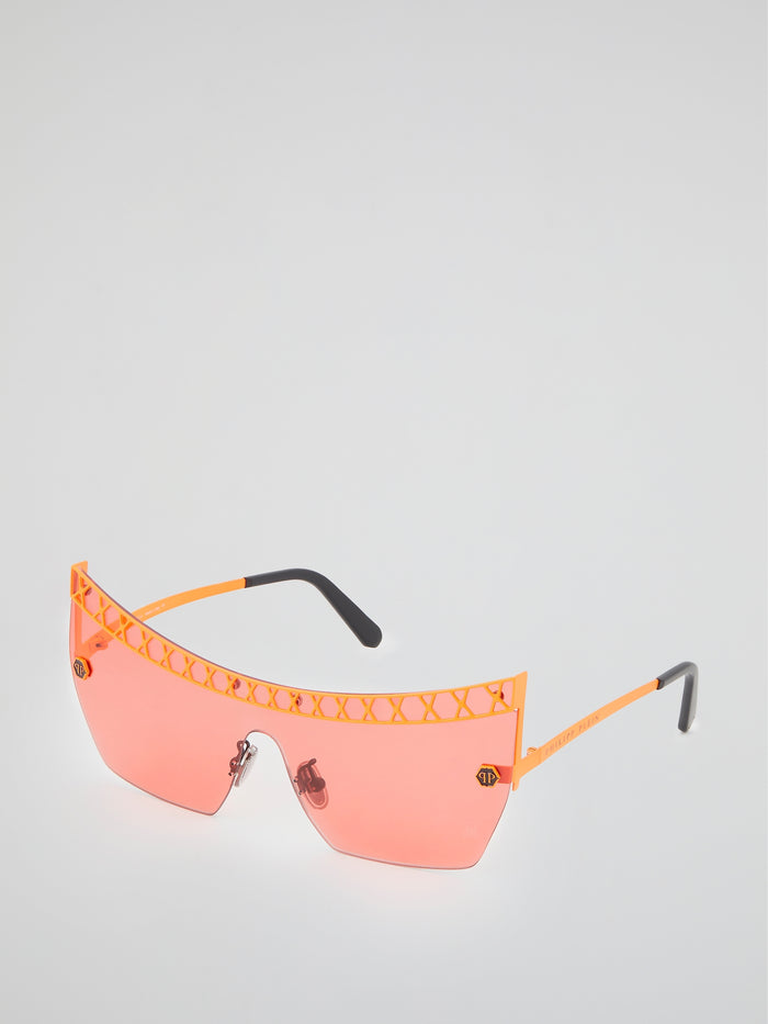 Orange Rimless Square Sunglasses