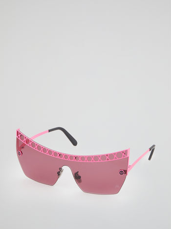 Pink Rimless Square Sunglasses