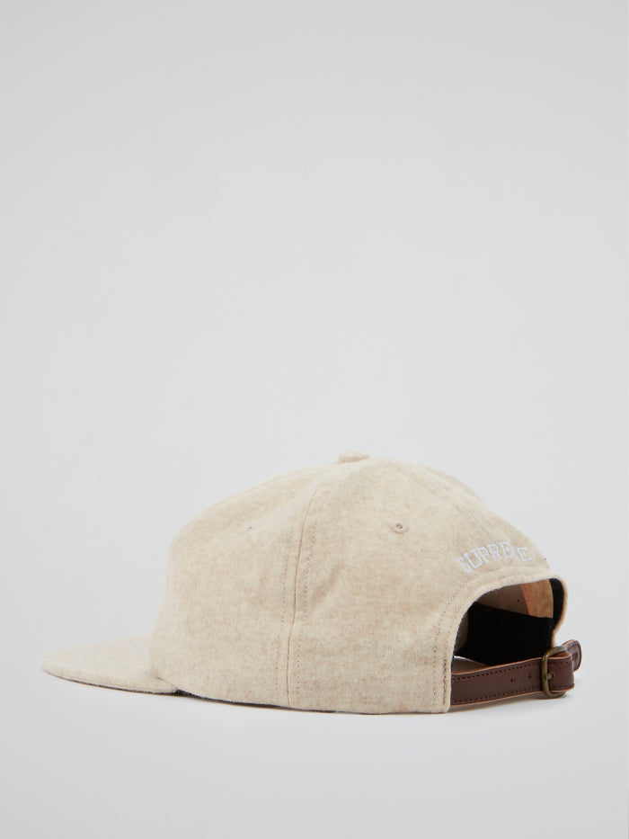 Beige Wool S Logo 6-Panel Cap