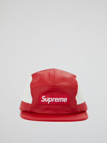 Red 2-Tone Leather Camp Cap