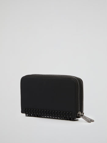 Black Spike Studded Continental Wallet