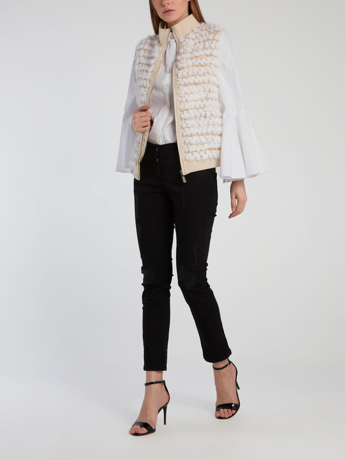 Beige Tweed Sleeveless Jacket