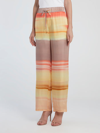 Printed Wide Leg Silk Pants