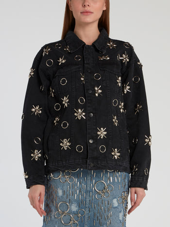 Black Embellished Denim Jacket