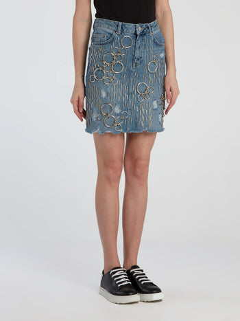 Embellished Frayed Denim Skirt