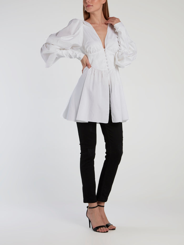 White Victorian Sleeve Flared Shirt
