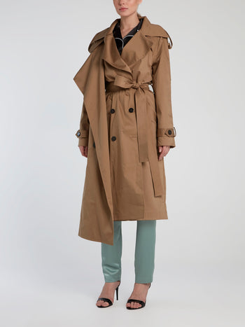 Brown Asymmetric Double-Breasted Trench Coat