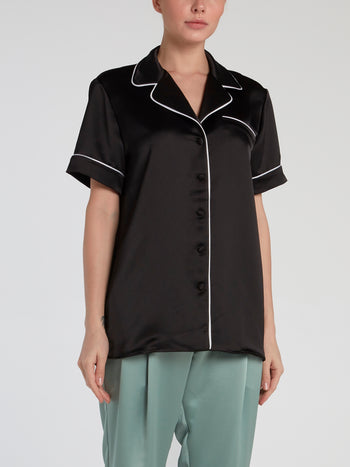 Black Short Sleeve Pajama Shirt