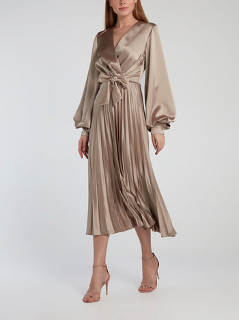 Beige Surplice Accordion Midi Dress