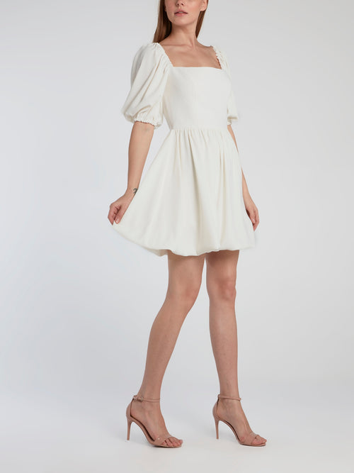 White Puff Sleeve Mini Dress