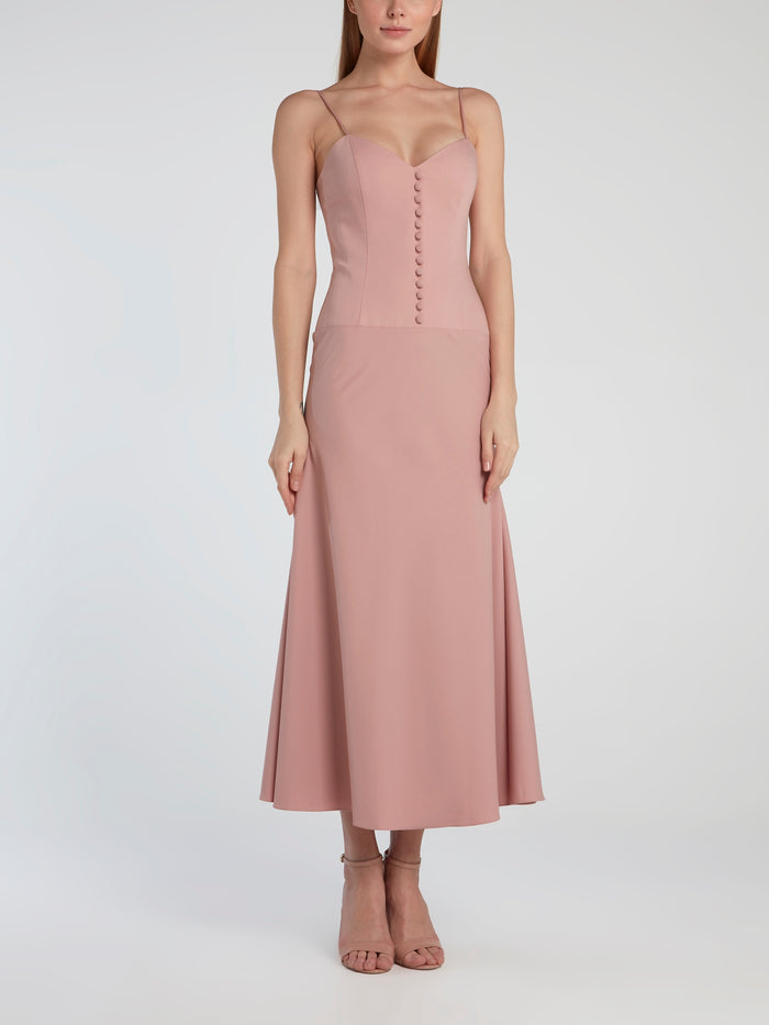 Pink Midi Dress With Removable Top