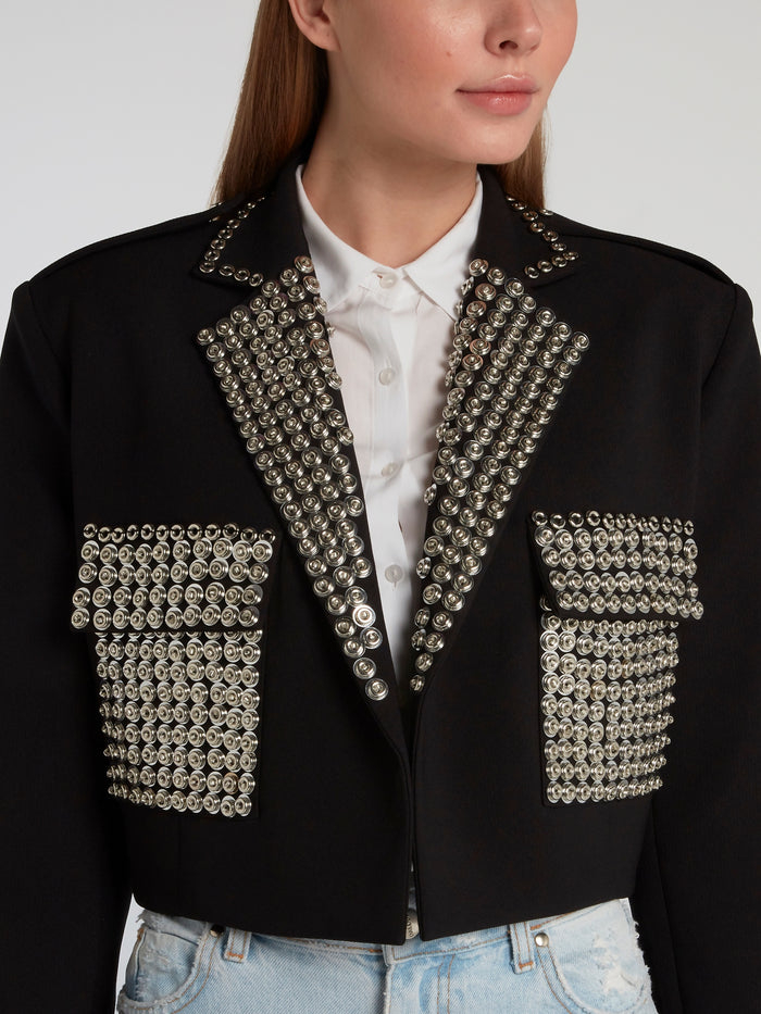Black Embellished Cropped Blazer
