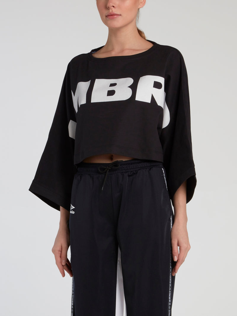 Jago Black Cropped Sweat Top