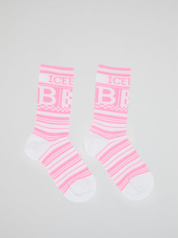 Pink Logo Striped Crew Socks