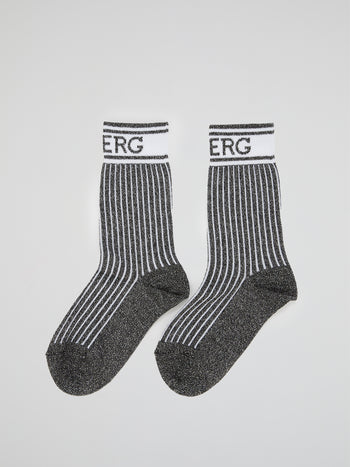 Black Logo Trim Crew Socks
