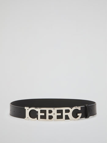 Black Logo Buckle Leather Belt