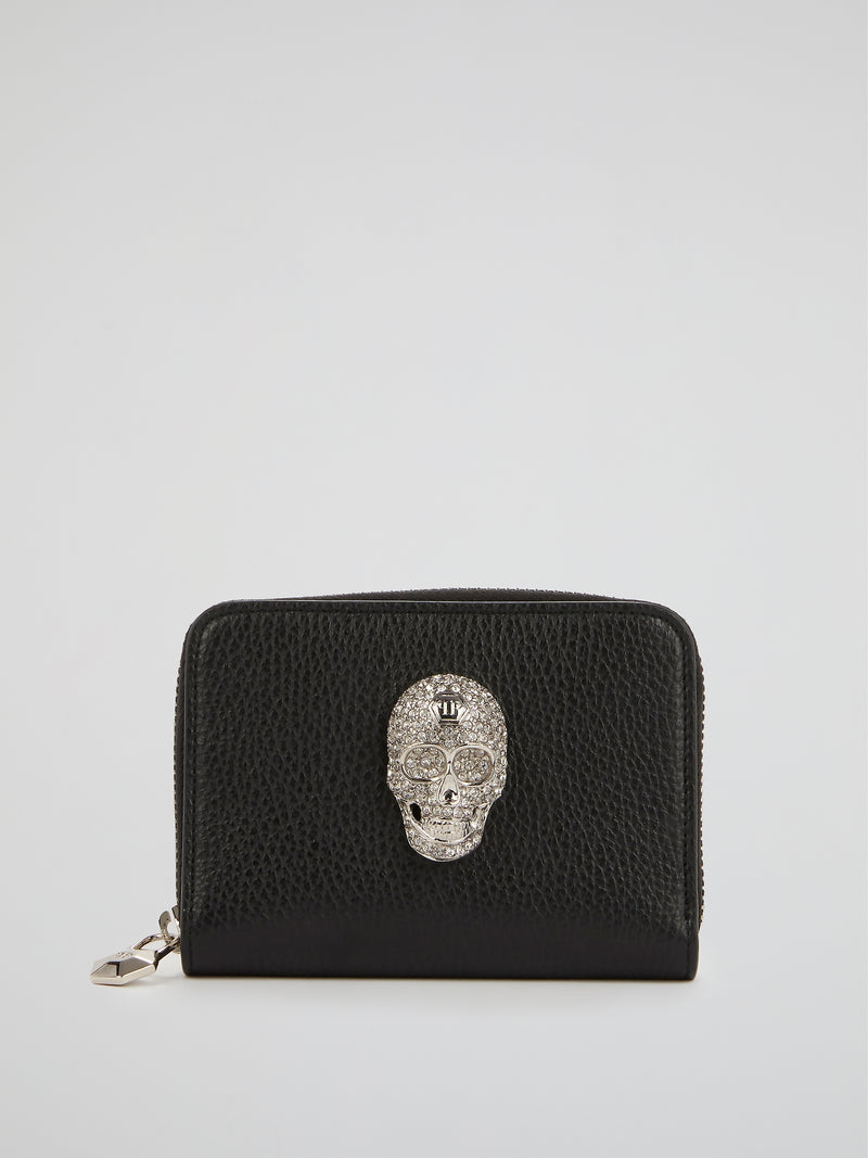 Black Crystal Skull Zip Around Wallet