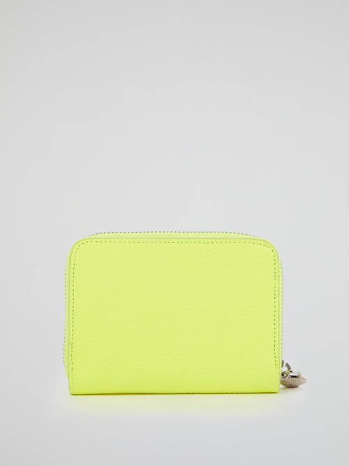 Neon Yellow Crystal Skull Zip Around Wallet