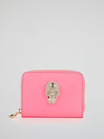 Pink Crystal Skull Zip Around Wallet