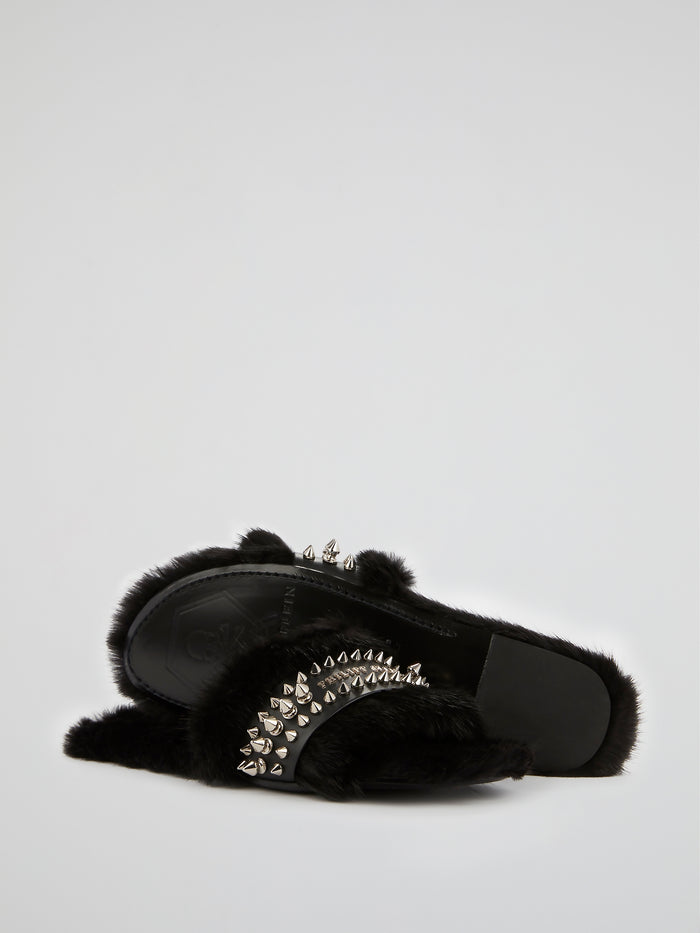 Black Spike Studded Fur Slippers